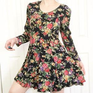 Vintage 90s Black Floral Dress Grunge Skater sz XS